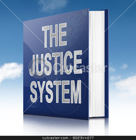 Justice system text book. stock photo, Illustration depicting a text book with a justice system concept title. Sky background. by Samantha Craddock