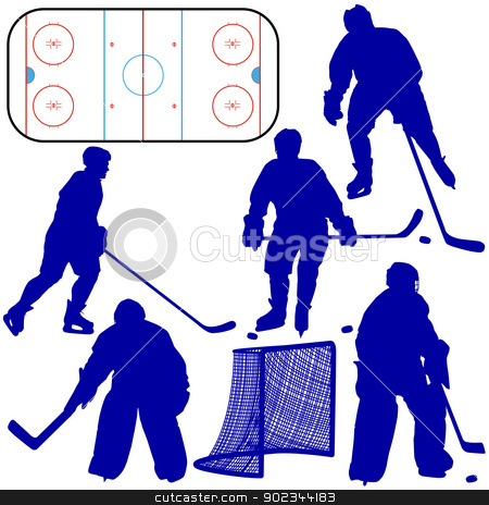 Set of silhouettes of hockey player. Isolated on white. Vector   stock vector clipart, Set of silhouettes of hockey player. Isolated on white. Vector  illustrations. by aarrows
