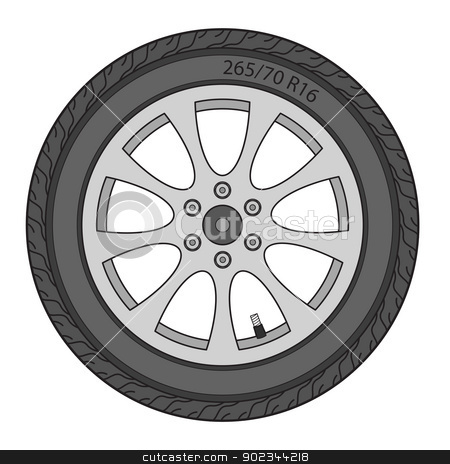 Car Wheel, vector illustration stock vector clipart, Car Wheel, vector illustration by aarrows