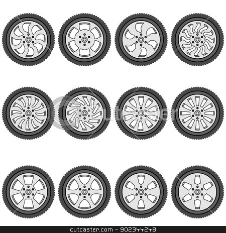 automotive wheel with alloy wheels, vector illustration stock vector clipart, automotive wheel with alloy wheels, vector illustration by aarrows