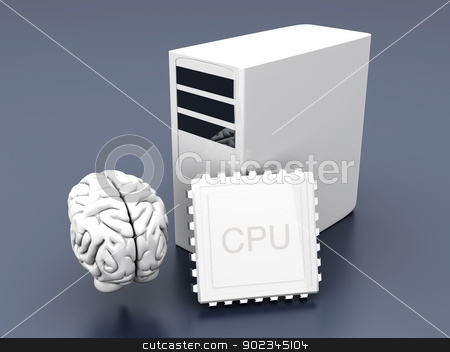 Artificial Intelligence stock photo, Artificial Intelligence Symbol. 3D rendered Illustration. Gray background.  by Michael Osterrieder