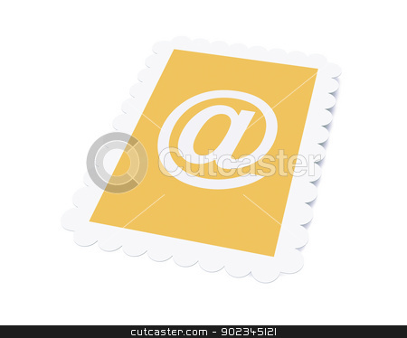 Email Postage stamp stock photo, 3D Illustration. Isolated on white.