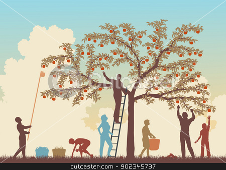 Colorful harvest stock vector clipart, Editable vector colorful illustration of a family harvesting apples from a tree  by Robert Adrian Hillman