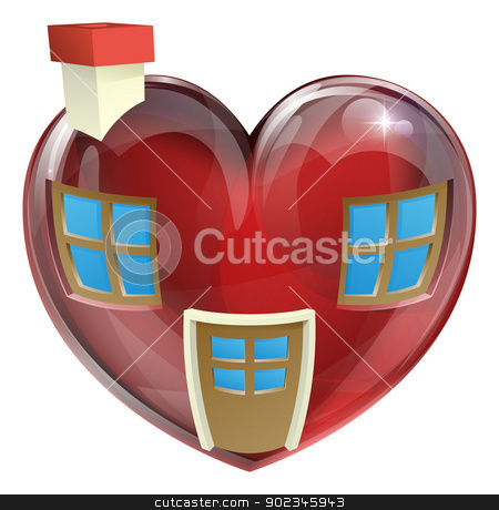 The perfect house concept stock vector clipart, A heart shaped house concept, concept for finding the perfect house or home. Useful for any real estate or estate agent related use by Christos Georghiou