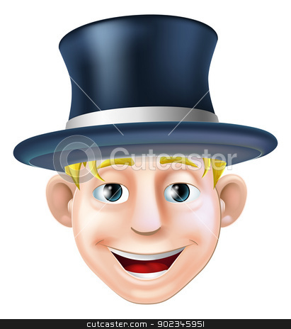 Man in top hat cartoon stock vector clipart, An illustration of a cartoon character wearing a top hat or stove pipe hat by Christos Georghiou