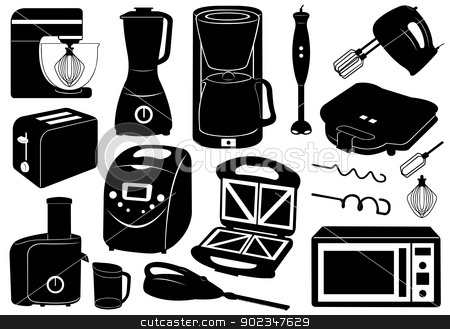 Set Of Kitchen Appliances stock vector clipart, Set of kitchen appliances isolated on white by Ioana Martalogu