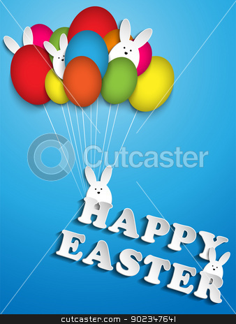 Happy Easter Rabbit Balloons Eggs stock vector clipart, Vector - Happy Easter Rabbit Ballons Eggs by AUGUSTO CABRAL