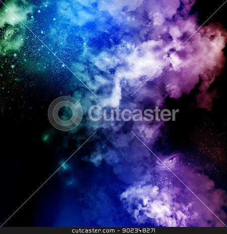Cosmic clouds of mist stock photo, Cosmic clouds of mist on bright colorful backgrounds by Sergey Nivens
