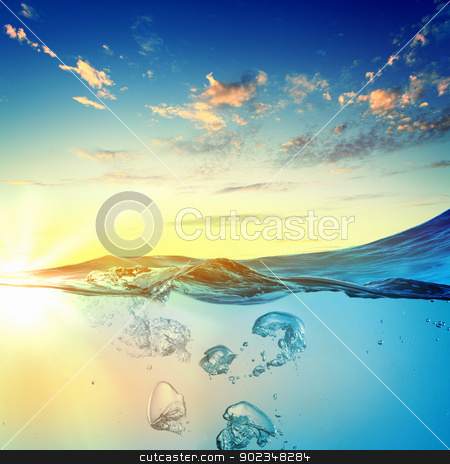 Sea wave with bubbles stock photo, Sky and sea water wave with bubbles illustration by Sergey Nivens