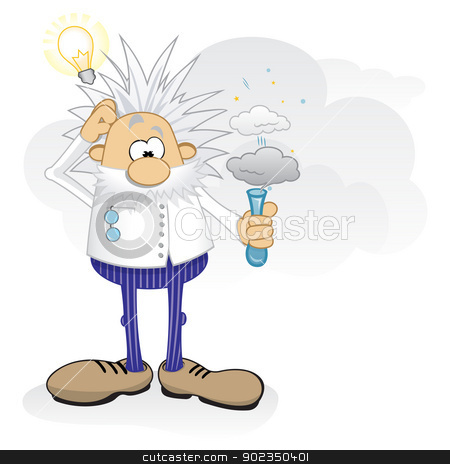Genius at work stock vector clipart, Cartoon crazy scientist doing danger experiments by Oxygen64