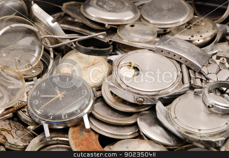 retro old watches clocks parts pile heap closeup  stock photo, retro old watches clocks and parts pile heap closeup.  by sauletas