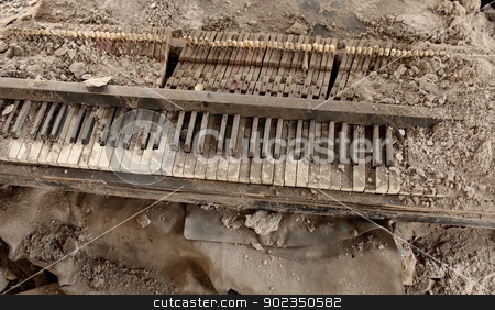 piano stock photo, explosion of destroyed by the piano by mrivserg