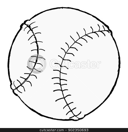 baseball ball stock vector clipart, hand drawn, vector, cartoon image of baseball ball by Oleksandr Kovalenko