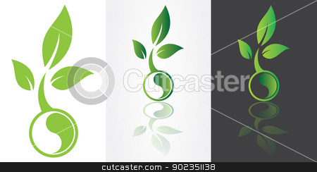 ying yang symbolism with green leaf stock vector clipart, ying yang harmony symbolism with green leaf vector image. by antkevyv