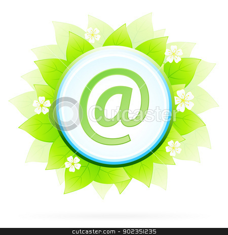 Icon Button Internet and E-mail stock vector clipart, Icon Button Internet and E-mail with Green Leaves and Flowers by Vadym Nechyporenko