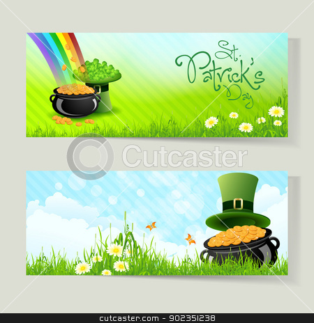 Set of St. Patricks Day Cards stock vector clipart, Set of St. Patrick's Day Cards with Cauldron,  Leprechaun Hat, Gold Coins, Rainbow, Grass and Shamrock by Vadym Nechyporenko