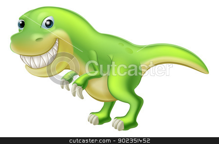 T Rex Cartoon Dinosaur stock vector clipart, An illustration of a cartoon Tyrannosaurus Rex dinosaur character mascot  by Christos Georghiou
