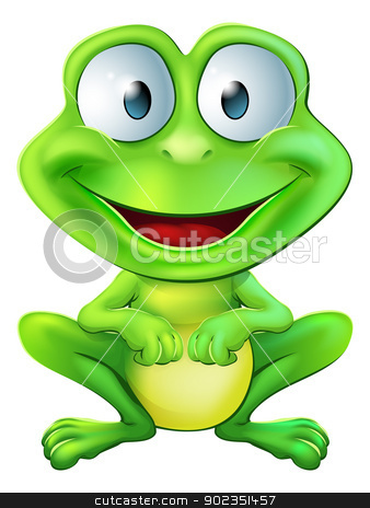 Cute frog character stock vector clipart, An illustration of a green cute frog character sitting and smiling by Christos Georghiou