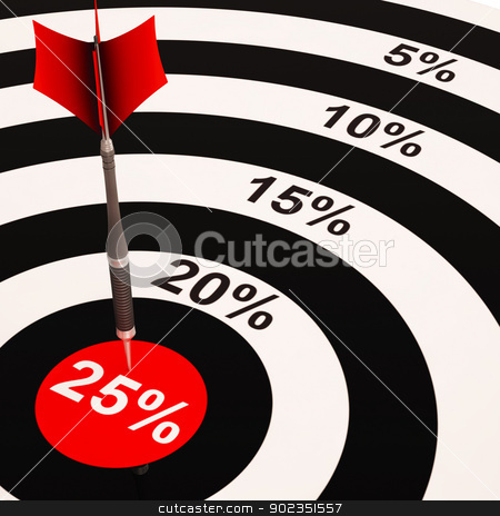 25 Percent On Dartboard Shows Selected Discounts stock photo, 25 Percent On Dartboard Shows Selected Discounts And Price Sales by stuartmiles
