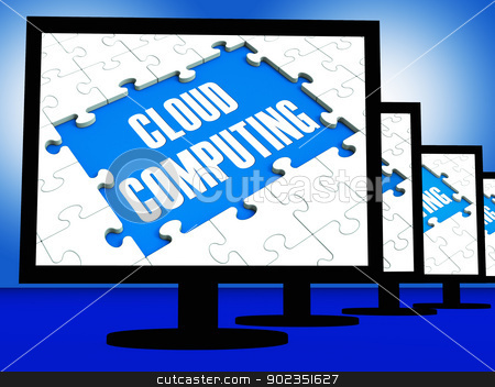 Cloud Computing On Monitors Showing System Networks stock photo, Cloud Computing On Monitors Showing System Networks Or Backup Online by stuartmiles