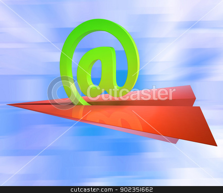At Sign Aeroplane Shows E-mail Sending Post stock photo, At Sign Aeroplane Showing E-mail Sending Post by stuartmiles
