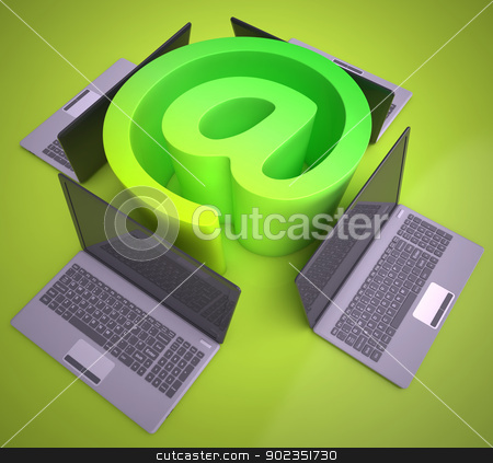 At Sign Laptops Shows Online Mailing Communication stock photo, At Sign Laptops Showing Online Mailing Communication by stuartmiles