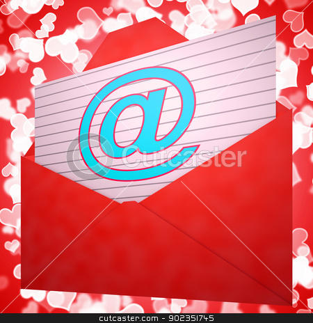 At Envelope Shows Email Message And Correspondence stock photo, At Envelope Showing Email Message And Correspondence by stuartmiles