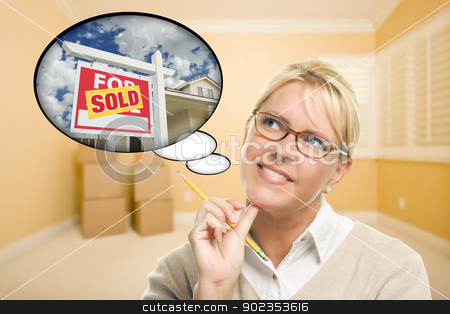 Woman in Empty Room with Thought Bubble of Sold Real Estate Sign stock photo, Attractive Woman in Empty Room with Thought Bubble of a Sold For Sale Real Estate Sign in Front of House. by Andy Dean