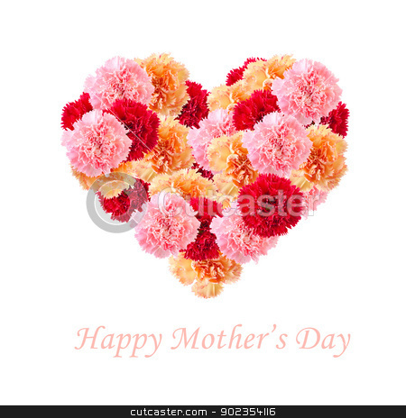 Carnation flowers In Love Shape  stock photo, Bouquet of colorful assorted carnation flowers In Love Shape isolated on white with copy space. Happy Mother's day concept. by szefei