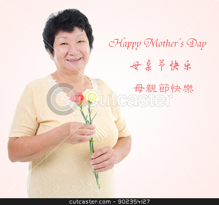 Happy mother's day concept. stock photo, Happy mother's day concept. Asian senior mother holding carnation flowers. Characters in Chinese writing means happy mothers day by szefei