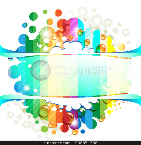Abstract background stock vector clipart, Abstract background with drops of water over circles rainbow  by Merlinul