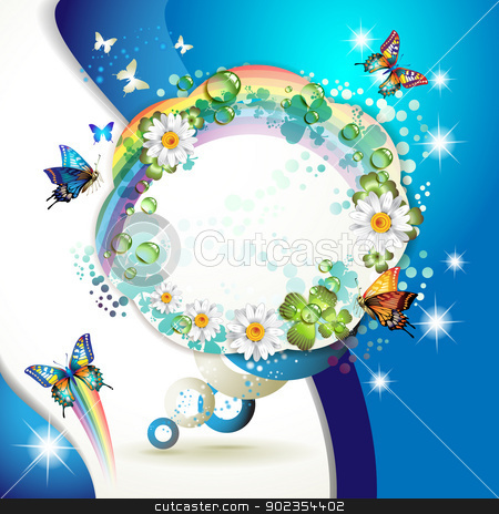 Background with butterflies stock vector clipart, Abstract background with butterflies, flowers, rainbow and drops of water  by Merlinul
