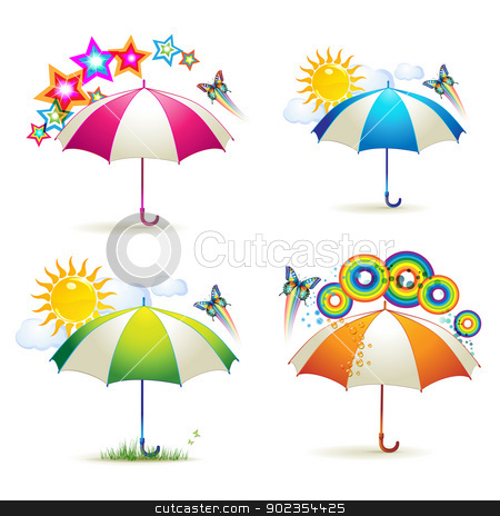 Colored umbrellas with stars stock vector clipart, Colored umbrellas with stars, circles, sun and butterflies over white background  by Merlinul