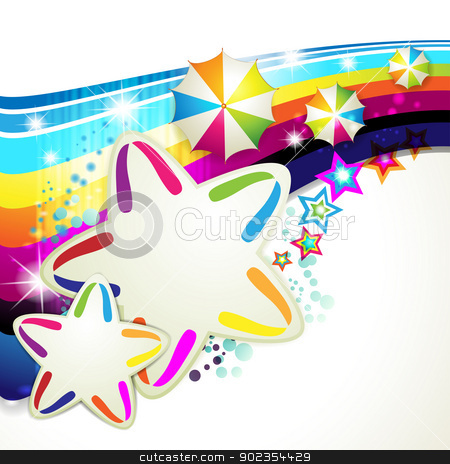 Colored background with stars stock vector clipart, Colored background with colored stars and umbrellas by Merlinul