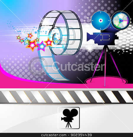 Illustration with film frames stock vector clipart, Illustration with film frames and stars over colored background  by Merlinul