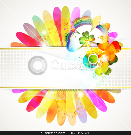 Banner design with clover stock vector clipart, Banner design with colored flower background and clover by Merlinul