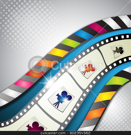 Film frames  stock vector clipart, Film frames with blue background and colored stripes by Merlinul
