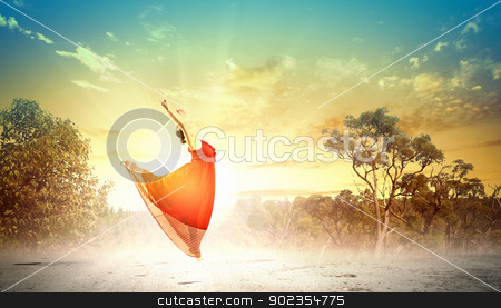 Female ballet dancer stock photo, Image of female ballet dancing outdoor against sunset background by Sergey Nivens