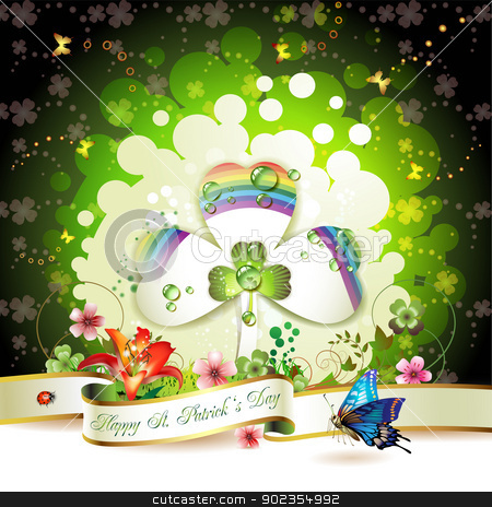 St. Patrick's Day card  stock vector clipart, St. Patrick's Day card design with clover by Merlinul