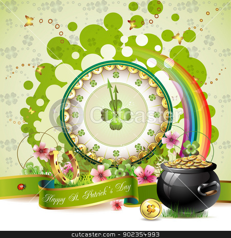St. Patrick's Day card stock vector clipart, St. Patrick's Day card design with clock  by Merlinul