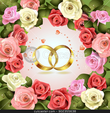 Two wedding rings stock vector clipart, Two wedding rings with hearts and flowers by Merlinul