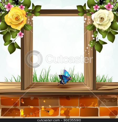 Window with flowers stock vector clipart, Window frame with flowers by Merlinul