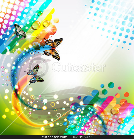 Background with butterflies stock vector clipart, Colorful abstract background with butterflies by Merlinul