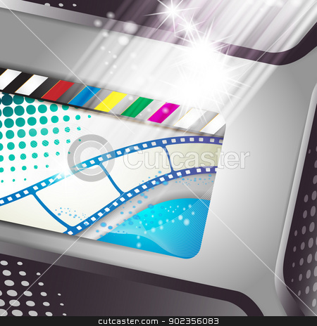 Banner with film frames stock vector clipart, Banner with film frames, and stars  by Merlinul
