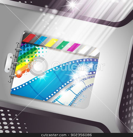 Banner with film frames stock vector clipart, Banner with film frames and stars  by Merlinul