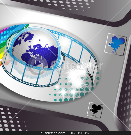 Film frames and earth stock vector clipart, Banner with film frames and earth  by Merlinul