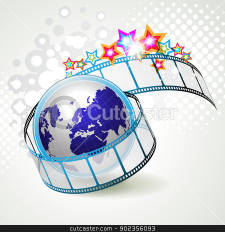 Film frames stock vector clipart, Film frames with colored stars and earth  by Merlinul
