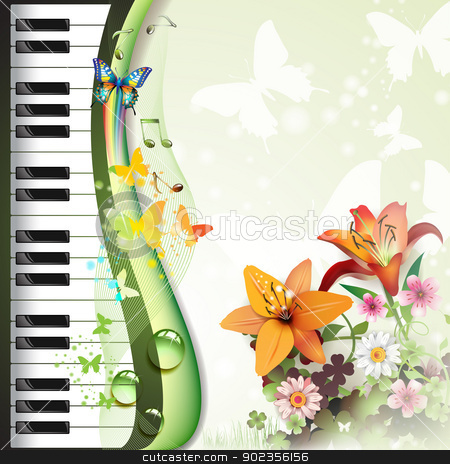 Piano keys with lilies stock vector clipart, Piano keys with lilies and butterflies  by Merlinul