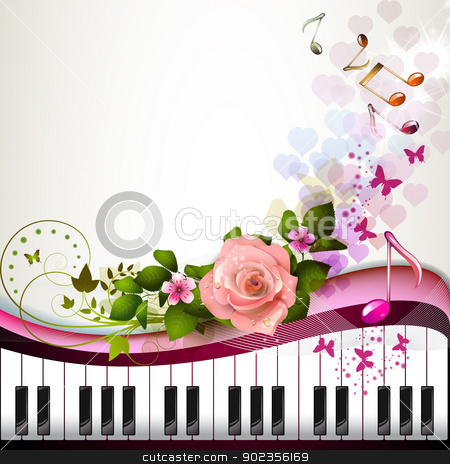 Piano keys with rose stock vector clipart, Piano keys with rose and butterflies  by Merlinul