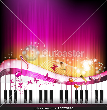 Piano keys with butterflies stock vector clipart, Piano keys with butterflies and stars  by Merlinul